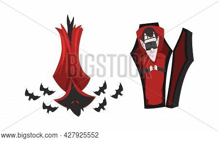 Scary Vampire Set, Count Dracula Character Sleeping In Coffin And Flying With Bats, Happy Halloween