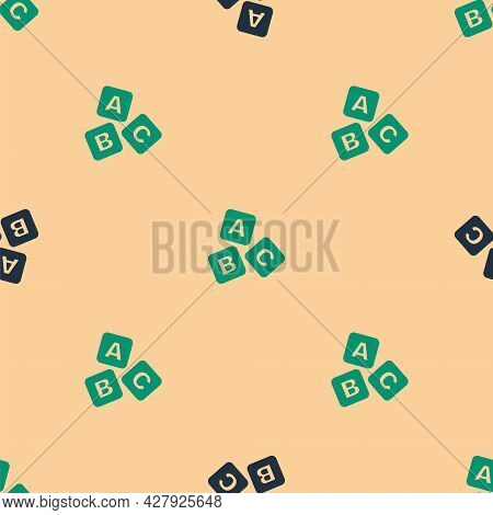 Green And Black Abc Blocks Icon Isolated Seamless Pattern On Beige Background. Alphabet Cubes With L