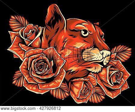 Vector Illustration Of Roaring Puma Head And Roses