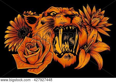 Vector Illustration Of Roaring Tiger Head And Flowers