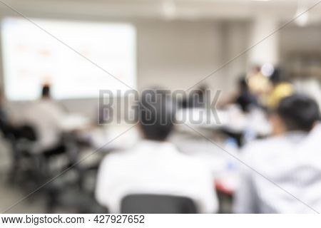 Office Blur Meeting Room Blurred Background Of Blurry Boardroom Interior With Work Desk Table For Bu