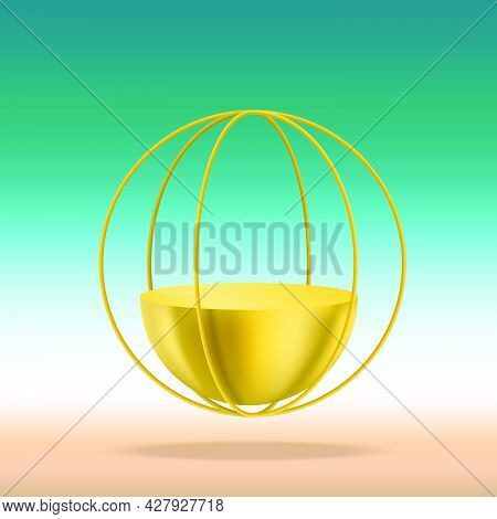 Pedestal Is In Shape Of Semicircle Golden Podium In Golden Circle Wheel On Gradient Background Of Bl