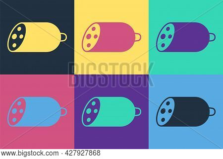 Pop Art Salami Sausage Icon Isolated On Color Background. Meat Delicatessen Product. Vector