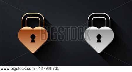 Gold And Silver Castle In The Shape Of A Heart Icon Isolated On Black Background. Locked Heart. Love