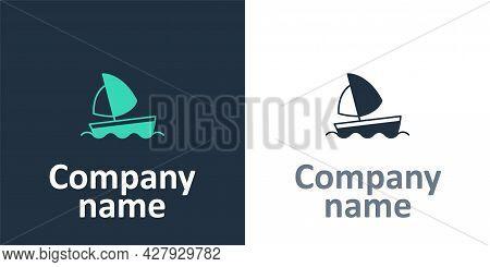 Logotype Yacht Sailboat Or Sailing Ship Icon Isolated On White Background. Sail Boat Marine Cruise T