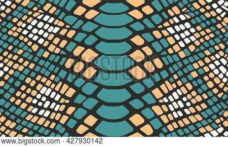 Trendy Snake Skin Vector Seamless Pattern. Hand Drawn Wild Animal Reptile Skin, Green Snake Repeat T