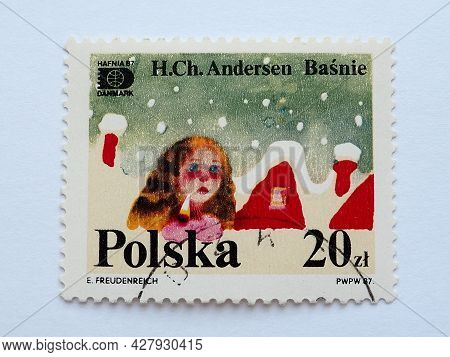Postage Stamp Girl With Matches Hans Christian Andersen Tales And Fables 20 Pln With Postmark E.freu