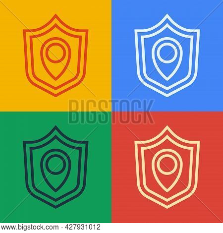 Pop Art Line Location Shield Icon Isolated On Color Background. Insurance Concept. Guard Sign. Secur