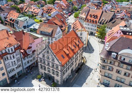 Ravensburg Downtown, Baden-wurttemberg, Germany, Europe. Aerial View Of Old Houses Of Ravensburg Cit