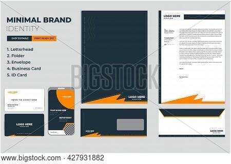 Modern Corporate Brand Identity Set With Letterhead, Business Card, Identity, Id Card Vector Templat