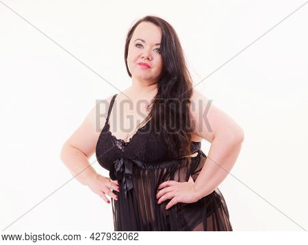 Plus Size Fat Woman Wearing Black Lace Lingerie. Overweight Voluptuous Model In Underwear Set Clothi