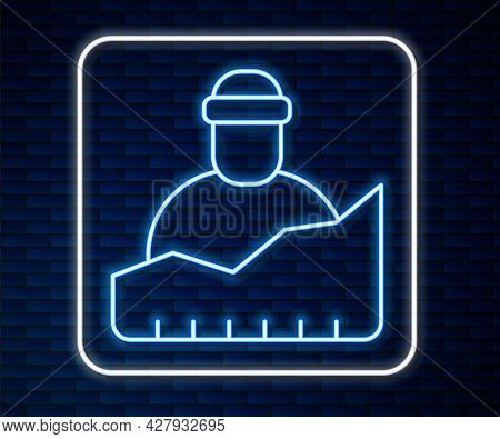 Glowing Neon Line Growth Of Homeless Icon Isolated On Brick Wall Background. Homelessness Problem. V