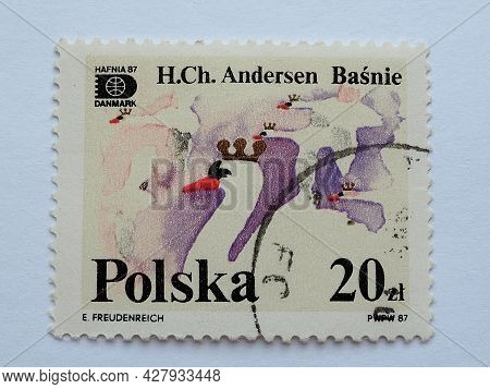 Postage Stamp Ugly Duckling Hans Christian Andersen Tales And Fables 20 Pln With Postmark E.freudenr