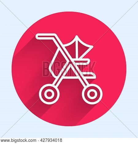 White Line Baby Stroller Icon Isolated With Long Shadow Background. Baby Carriage, Buggy, Pram, Stro