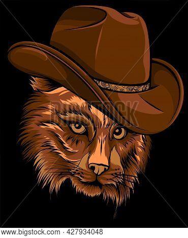 Wild Cat, Lynx, Bobcat, Trot Hand Top Hat, Cylinder.
