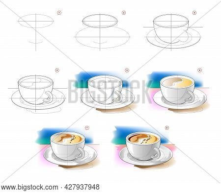 How To Learn To Draw Sketch Of Cup Of Coffee. Creation Step By Step Watercolor Painting. Educational