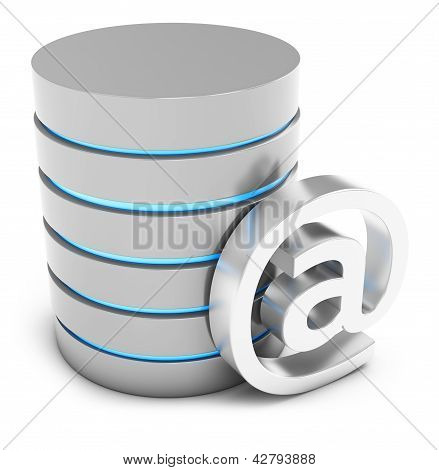 3D Database With Mail Symbol
