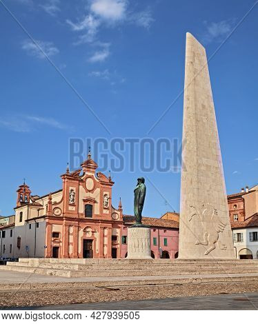 Lugo, Ravenna, Emilia Romagna, Italy: View Of The Statue Of The Italian Top Fighter Ace Of World War