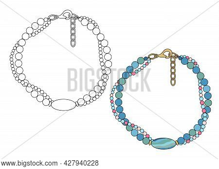 Handmade Jewelry: Bracelet In Two Threads With Large Oval Bead. Vector Illustration Isolated On A Wh