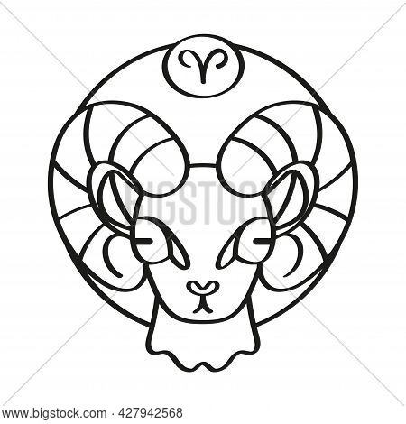Isolated Aries Symbol Outline Zodiac Sign Vector