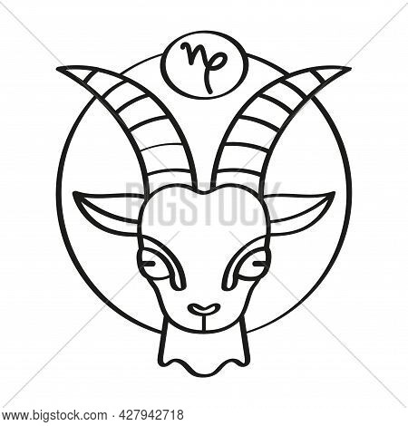 Isolated Capricorn Icon Outline Zodiac Sign Vector