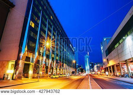 Tallinn, Estonia - July 26, 2014: Night View Of Tallink City Hotel Building Designed By Architect Ma