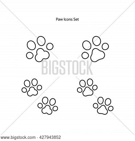 Dog And Cat Paw Print Vector Icons. Paw Of An Animal, Canine Footprints.