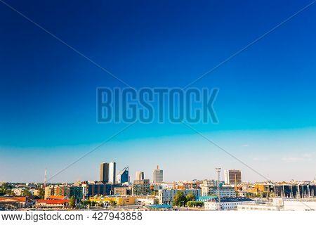 Tallinn, Estonia - July 26, 2014: Skyline Of Tallinn, Blue Clear Sky At Sunrise, Estonia. View From