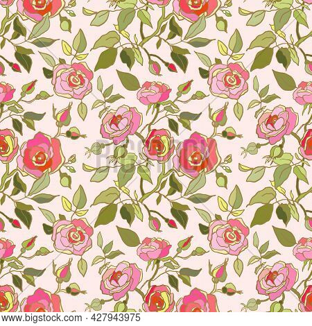 Cute Floral Pattern Of Pink,red Roses Flowers. Seamless Print With Garden Flowers On Light Pink Back