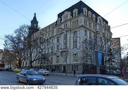 Sofia, Bulgaria -  March 10, 2011: Fragments Of Old Beautiful Buildings From The Xx Century In The C