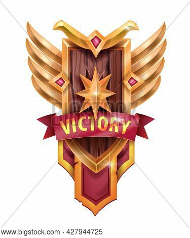 Victory Game Badge Icon, Ui Achievement Trophy Shield, Golden Star, Wings, Red Ribbon On White. Leve