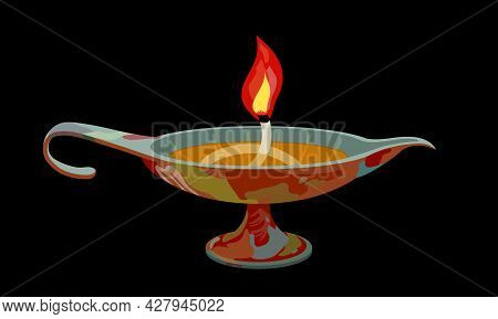Decorative Ancient Oil Lamp With A Wick And A Red Flame, Interior Element, Color Vector Illustration