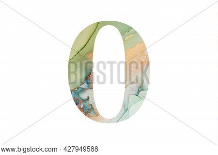 Decorative Numeral 0 With Abstract Hand-painted Alcohol Ink Texture. Isolated On White Background. I