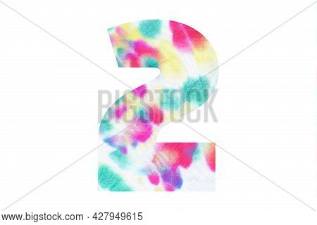 Decorative Numeral 2 With Abstract Hand-painted Tie Dye Texture. Isolated On White Background. Illus