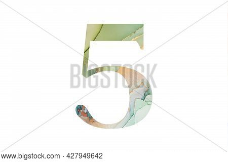 Decorative Numeral 5 With Abstract Hand-painted Alcohol Ink Texture. Isolated On White Background. I