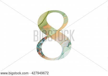 Decorative Numeral 8 With Abstract Hand-painted Alcohol Ink Texture. Isolated On White Background. I