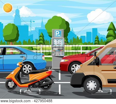 Pay For Car Park With Parking Meter Cityscape. Ticket Machine Icon. Sedan, Van, Motorbike Vehicle. S