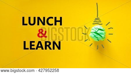 Lunch And Learn Symbol. Green Shining Light Bulb Icon. Words 'lunch And Learn'. Beautiful Yellow Bac