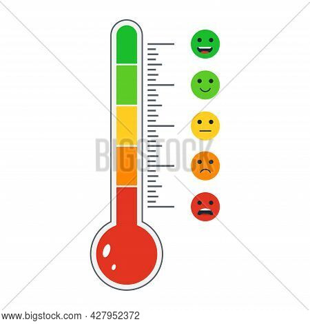 Cartoon Thermometer With Different Emotions. User Experience Feedback. Mood Measurement Smile Emotic