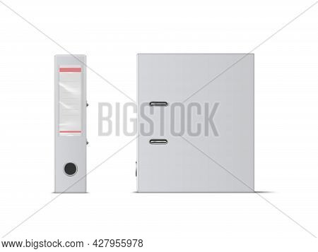 Realistic Vector Blank Office Binder With Metal Rings, Standing, Back And Side View.