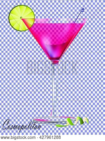 Cocktail Cosmopolitan On A Transparent Background.vector Illustration Of A Cocktail On A Transparent