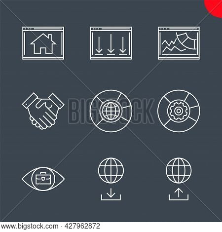 Seo Related Vector Line Icons Set. Partners, Data Management, Seo Data, Competitive Analysis, Homepa