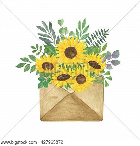 Yellow Sunflowers, Green Leaves In Craft Vintage Envelope Watercolor Hand Painted Arrangement, Thank