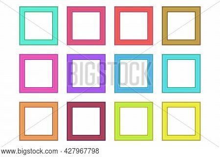 Set Of Squared Color Vintage Wooden Frame For Your Design. Vintage Cover. Place For Text. Vintage An