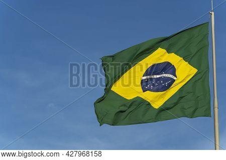 Brazil\'s Flag. Flag Of Brazil In The Wind.