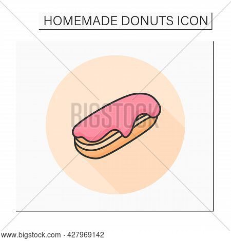 Long Donut Color Icon. Sugar Glazed Vanilla Cream Filled French Eclair. Concept Of Puff Pastry, Swee