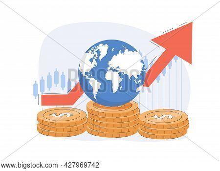 Global Economy Abstract Concept Vector Illustrations. Financial Investments, Broker. Stock Market An