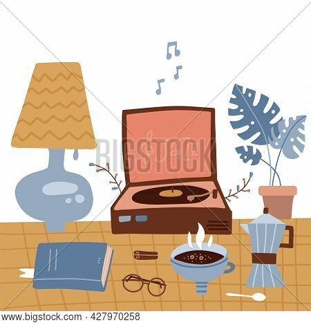Winter Cozy Types Of Retro Rest - Vinyl Records, Book Reading By The Lamp, Tea. A Phonograph Stands