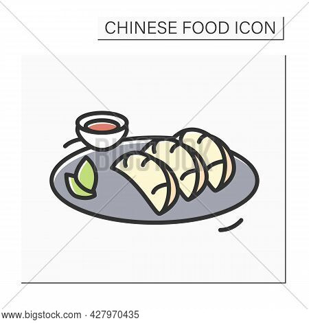 Chicken Dumplings Color Icon. Chinese Meat Stuffed Streamed, Boiled Or Deep Fried Dough Buns Plate W