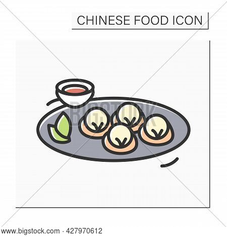 Vegetarian Dumplings Color Icon. Chinese Vegetable Streamed Or Deep Fried Buns Plate With Sour Or Sa